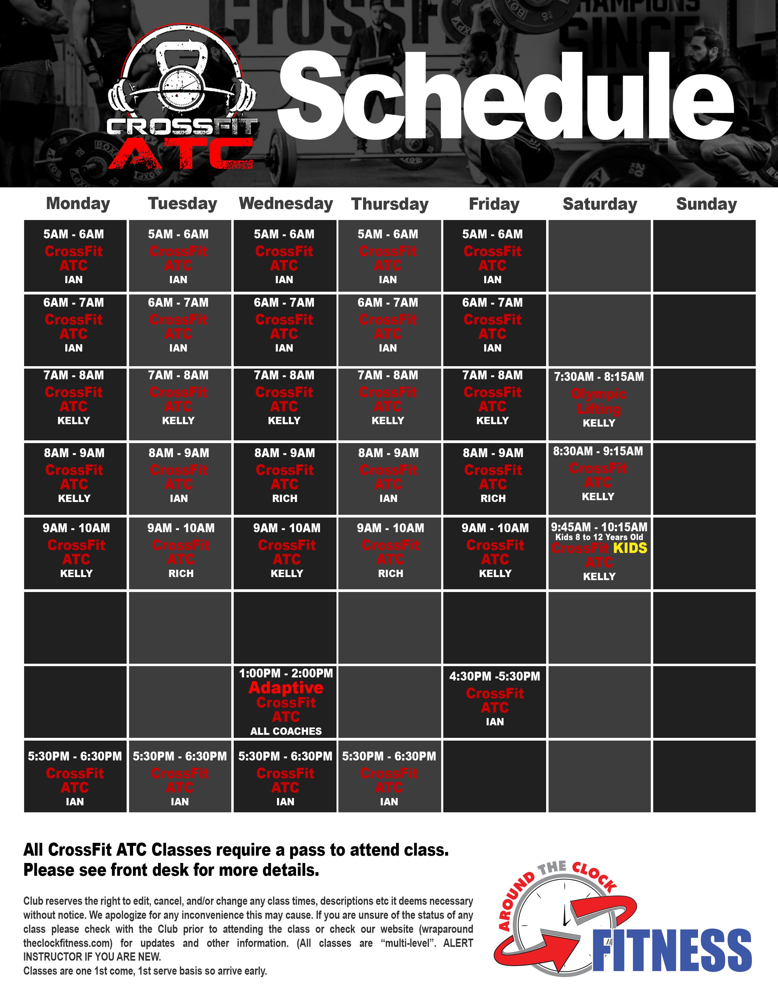Crossfit ATC Schedule